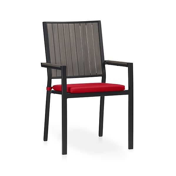 Alfresco Grey Dining Chair with Sunbrella® Ribbon Red Cushion