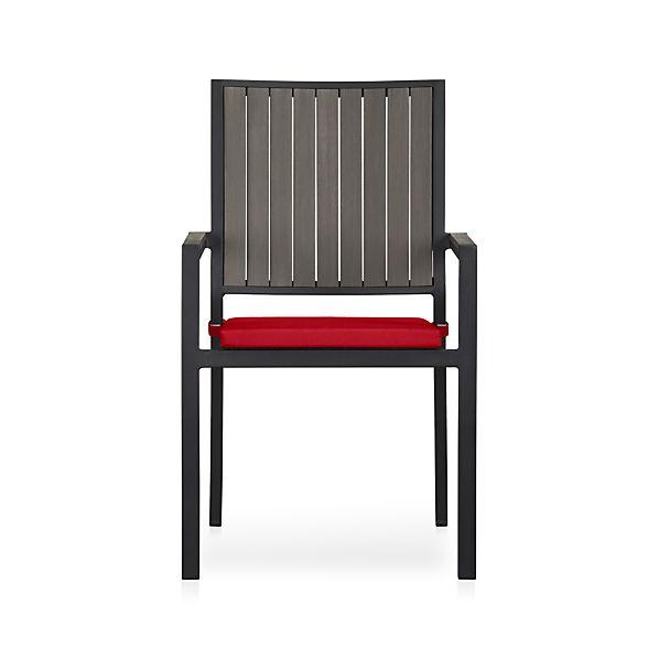 Alfresco Grey Dining Chair with Sunbrella ® Red Ribbon Cushion