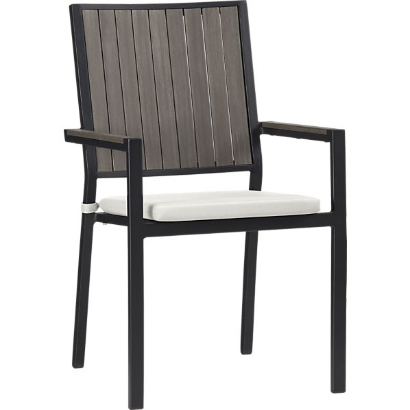 Alfresco Grey Dining Chair with Sunbrella ® White Sand Cushion