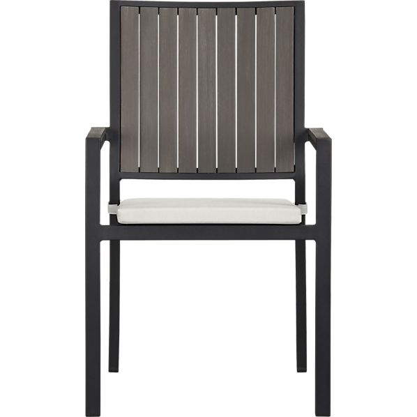 Alfresco Grey Dining Chair with Sunbrella® White Sand Cushion