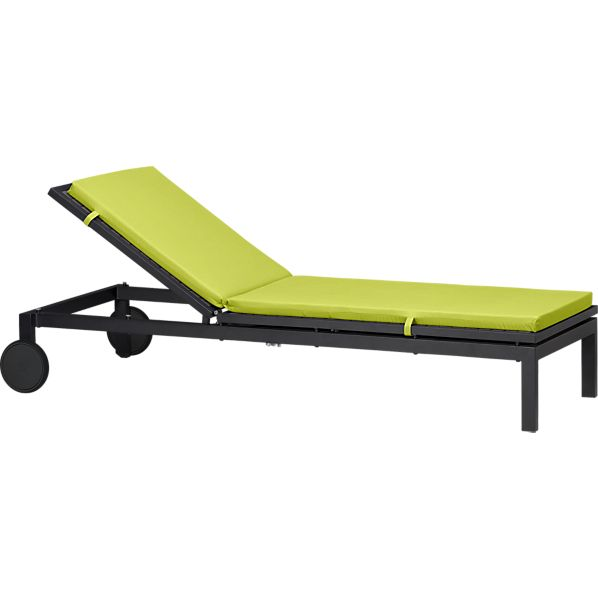 Alfresco Grey Chaise Lounge with Sunbrella® Apple Cushion