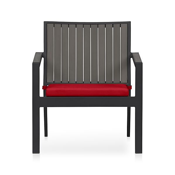 Alfresco Grey Lounge Chair with Sunbrella ® Ribbon Red Cushion