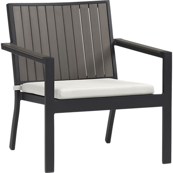 Alfresco Grey Lounge Chair with Sunbrella ® White Sand Cushion