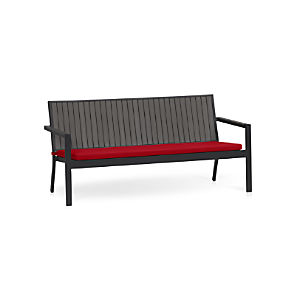Alfresco Grey Sofa with Sunbrella® Red Ribbon Cushion