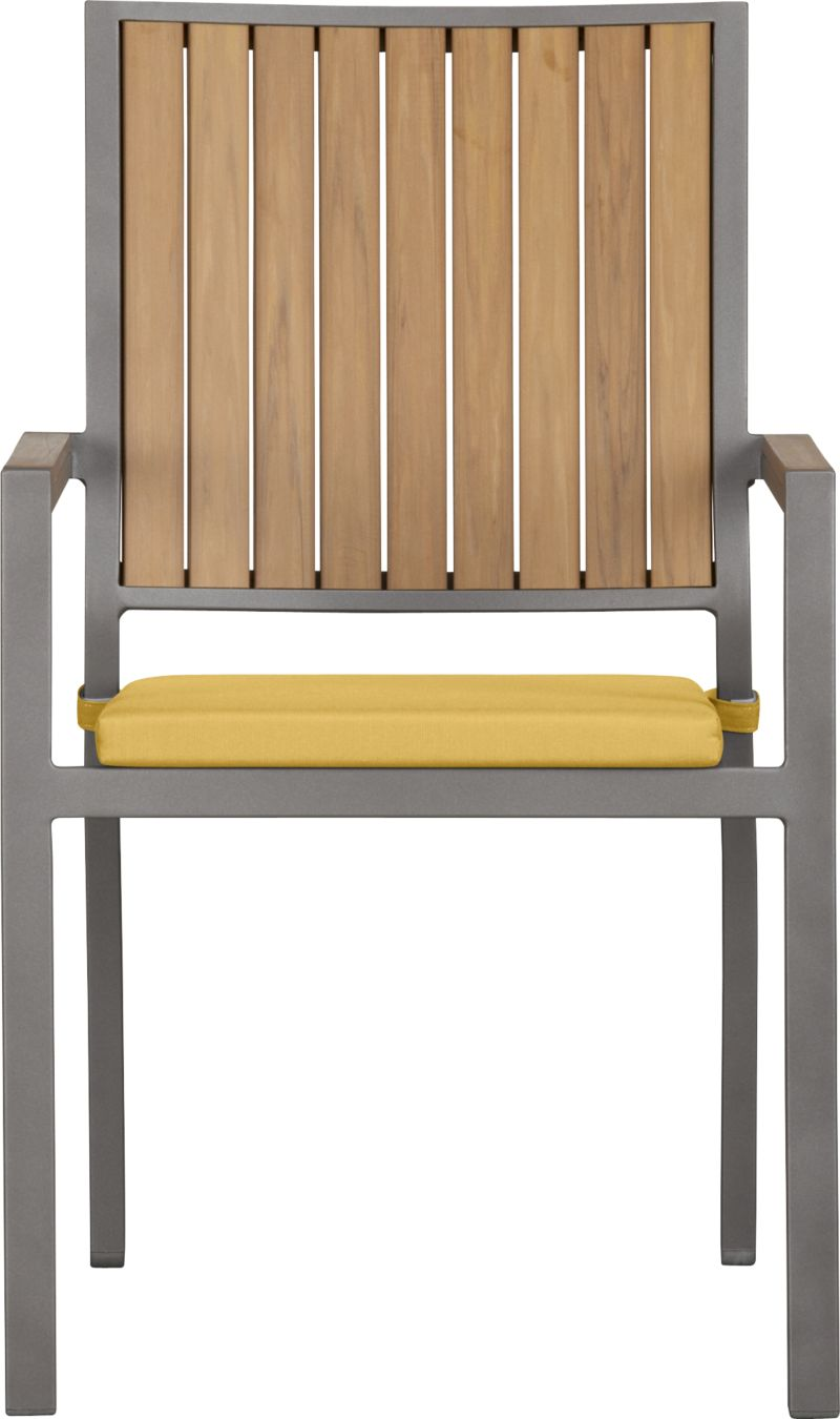 Casual and stylish Alfresco fools the eye with the look of real wood and fools the elements with waterproof, and UV- and fade-resistant qualities. The result is an outdoor collection that will last season after season for years to come. Slats of innovative polystyrene faux wood are treated with UV and anti-oxidant protection and finished a neutral natural. Sturdy but lightweight aluminum frames are powdercoated silver. Slat arm chairs stack up to four high for easy storage. Optional daffodil yellow cushion is fade- and mildew-resistant Sunbrella® acrylic. Alfresco natural lounge collection also available.<br /><ul><li>Extruded polystyrene with UV and anti-oxidant protection</li><li>Rustproof aluminum frame with silver powdercoat finish</li><li>Chair cushion is fade- and mildew-resistant Sunbrella acrylic</li><li>Polyfoam cushion fill</li><li>Cushion with fabric tab fasteners; spot clean</li><li>Stacks up to four high for easy storage</li><li>Made in China and USA </li></ul><NEWTAG/>