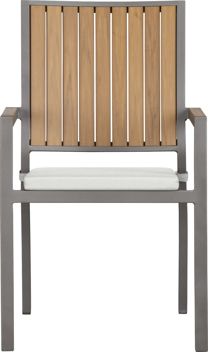 Casual and stylish Alfresco fools the eye with the look of real wood and fools the elements with waterproof, and UV- and fade-resistant qualities. The result is an outdoor collection that will last season after season for years to come. Slats of innovative polystyrene faux wood are treated with UV and anti-oxidant protection and finished a neutral natural. Sturdy but lightweight aluminum frames are powdercoated silver. Slat arm chairs stack up to four high for easy storage. Optional eggshell cushion is fade- and mildew-resistant Sunbrella® acrylic. Alfresco natural lounge collection also available.<br /><br /><NEWTAG/><ul><li>Extruded polystyrene with UV and anti-oxidant protection</li><li>Rustproof aluminum frame with silver powdercoat finish</li><li>Chair cushion is fade- and mildew-resistant Sunbrella acrylic</li><li>Polyfoam cushion fill</li><li>Cushion with fabric tab fasteners; spot clean</li><li>Stacks up to four high for easy storage</li></ul>