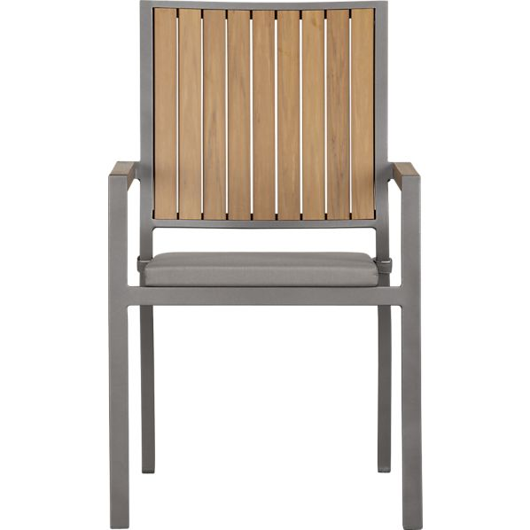 Alfresco Natural Dining Chair with Sunbrella® Graphite Cushion