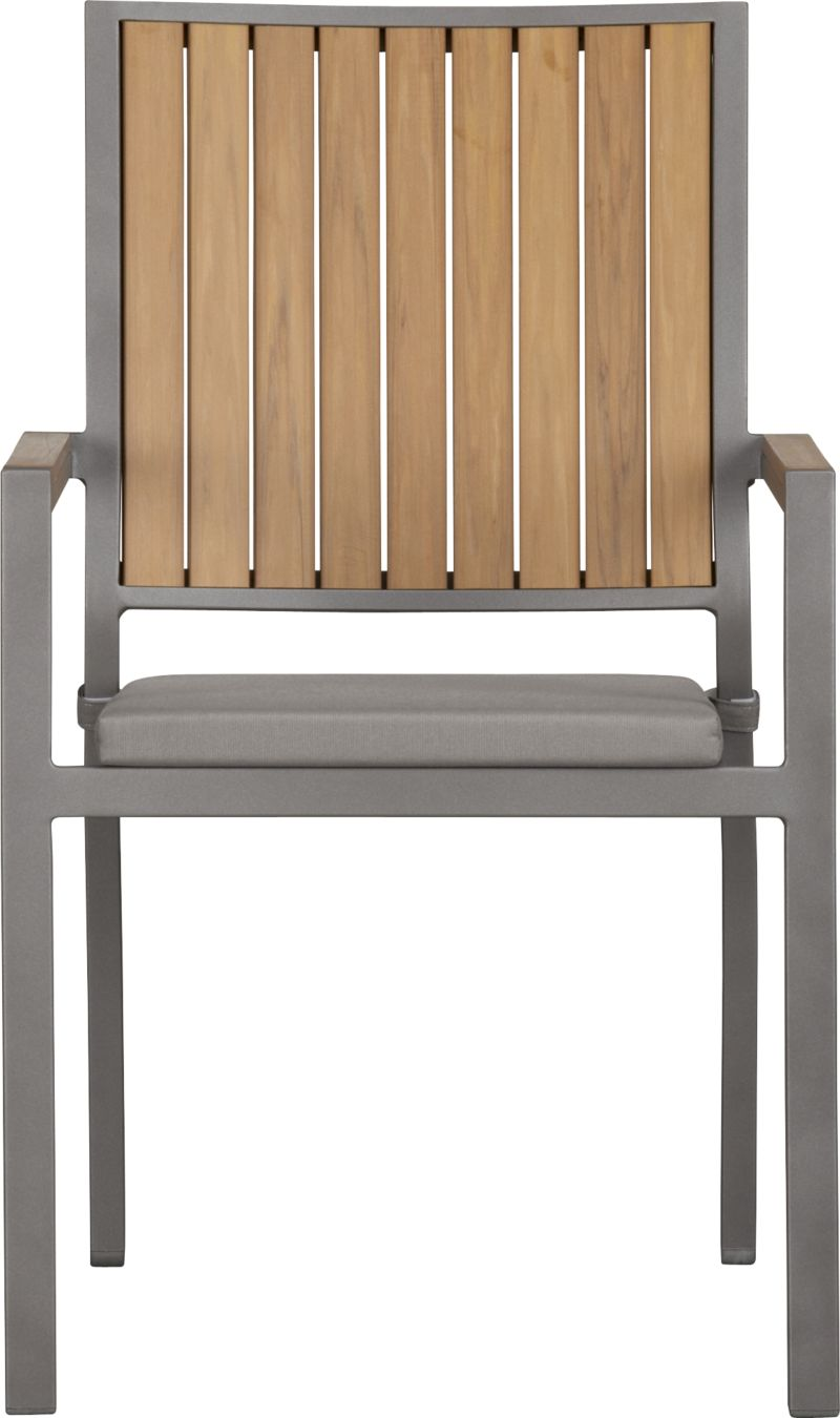 Casual and stylish Alfresco fools the eye with the look of real wood and fools the elements with waterproof, and UV- and fade-resistant qualities. The result is an outdoor collection that will last season after season for years to come. Slats of innovative polystyrene faux wood are treated with UV and anti-oxidant protection and finished a neutral natural. Sturdy but lightweight aluminum frames are powdercoated silver. Slat arm chairs stack up to four high for easy storage. Optional graphite cushion is fade- and mildew-resistant Sunbrella® acrylic. Alfresco natural lounge collection also available.<br /><br /><NEWTAG/><ul><li>Extruded polystyrene with UV and anti-oxidant protection</li><li>Rustproof aluminum frame with silver powdercoat finish</li><li>Chair cushion is fade- and mildew-resistant Sunbrella acrylic</li><li>Polyfoam cushion fill</li><li>Cushion with fabric tab fasteners; spot clean</li><li>Stacks up to four high for easy storage</li><li>Made in China and USA </li></ul>