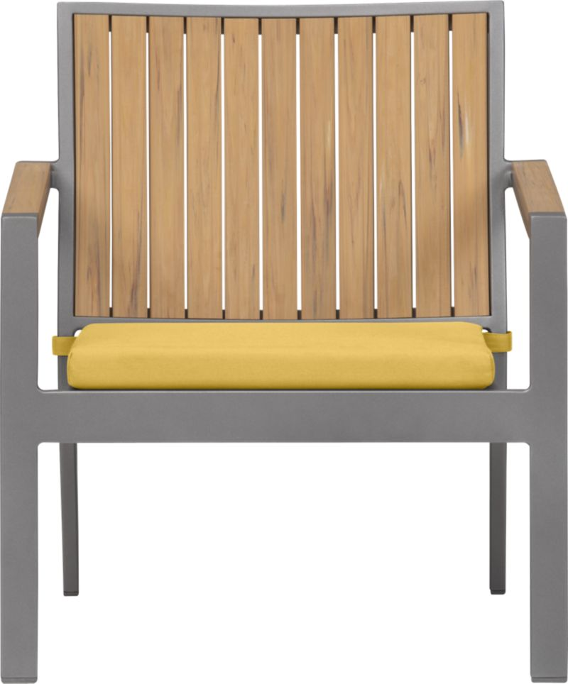 Casual and stylish Alfresco fools the eye with the look of real wood and fools the elements with waterproof, and UV- and fade-resistant qualities. The result is an outdoor collection that will last season after season for years to come. Slats of innovative Polystyrene faux wood are treated with UV and anti-oxidant protection and finished a neutral natural. Sturdy but lightweight aluminum frames are powdercoated silver. Low-slung lounge chair with angled back has slatted faux wood. Daffodil yellow cushion is fade- and mildew-resistant Sunbrella® acrylic. Alfresco Natural dining collection also available.<br /><ul><li>Extruded polystyrene with UV and anti-oxidant protection</li><li>Rustproof aluminum frame with powdercoat finish</li><li>Chair cushion is fade- and mildew-resistant Sunbrella acrylic</li><li>Polyfoam cushion fill</li><li>Cushion with fabric tab fasteners; spot clean</li><li>Made in China and USA </li></ul><NEWTAG/>