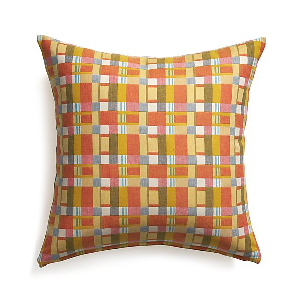 "Alistair Plaid 23"" Pillow with Feather Insert"