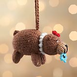 Alpaca Brown Bear with Pearls Ornament