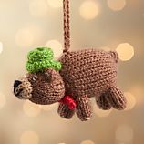 Alpaca Brown Bear with Bow Tie and Top Hat Ornament