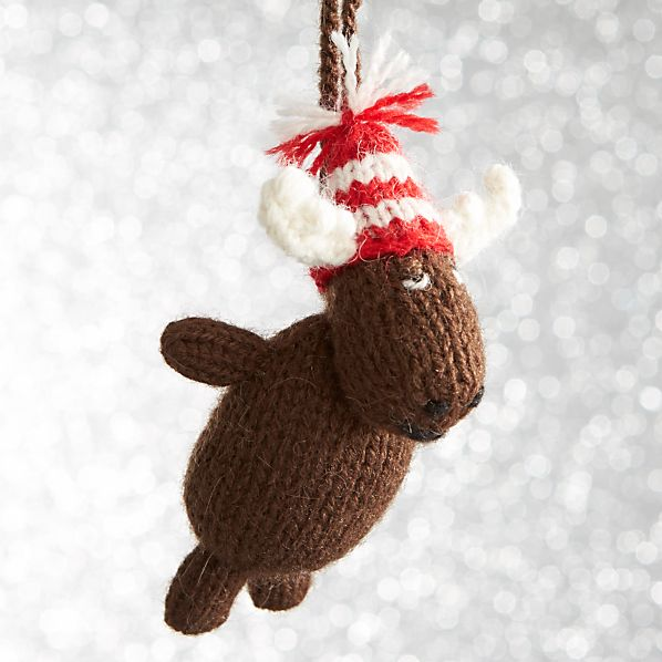 Alpaca Chubby Moose with Hat Sitting Ornament