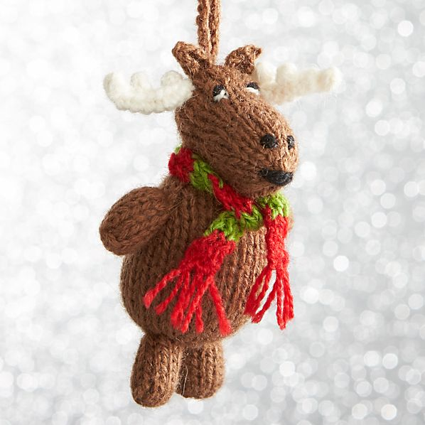 Alpaca Chubby Moose with Scarf Sitting Ornament