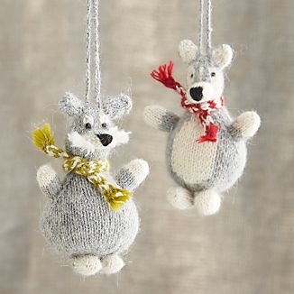 Alpaca Chubby Dog Ornaments