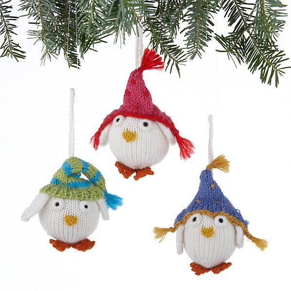 Set of 3 Alpaca Snowy Owl Ornaments