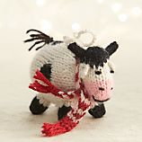 Alpaca Winter Cow with Scarf Ornament