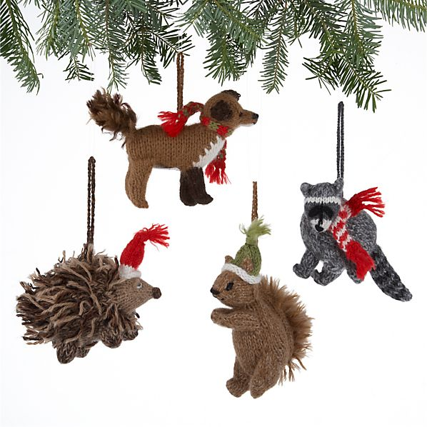 Set of 4 Alpaca Woodland Creature Ornaments
