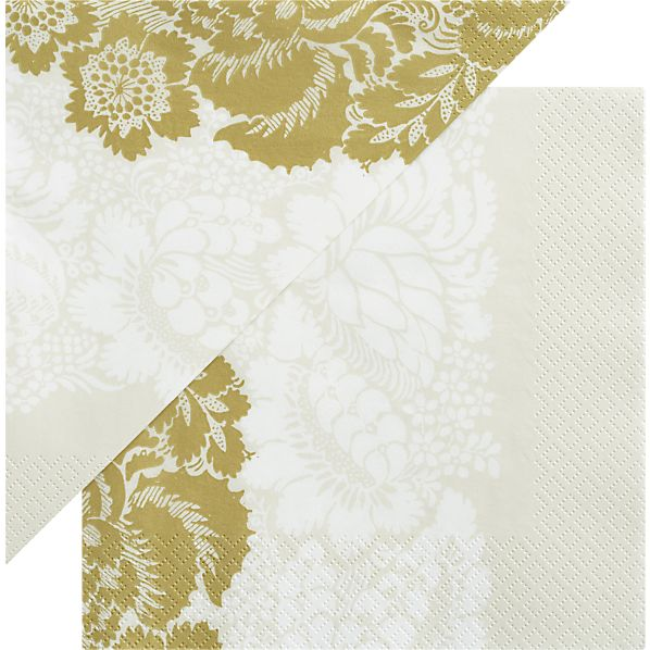 "Set of 20 Marimekko Ananas Champagne Paper 6.5"" Napkins"