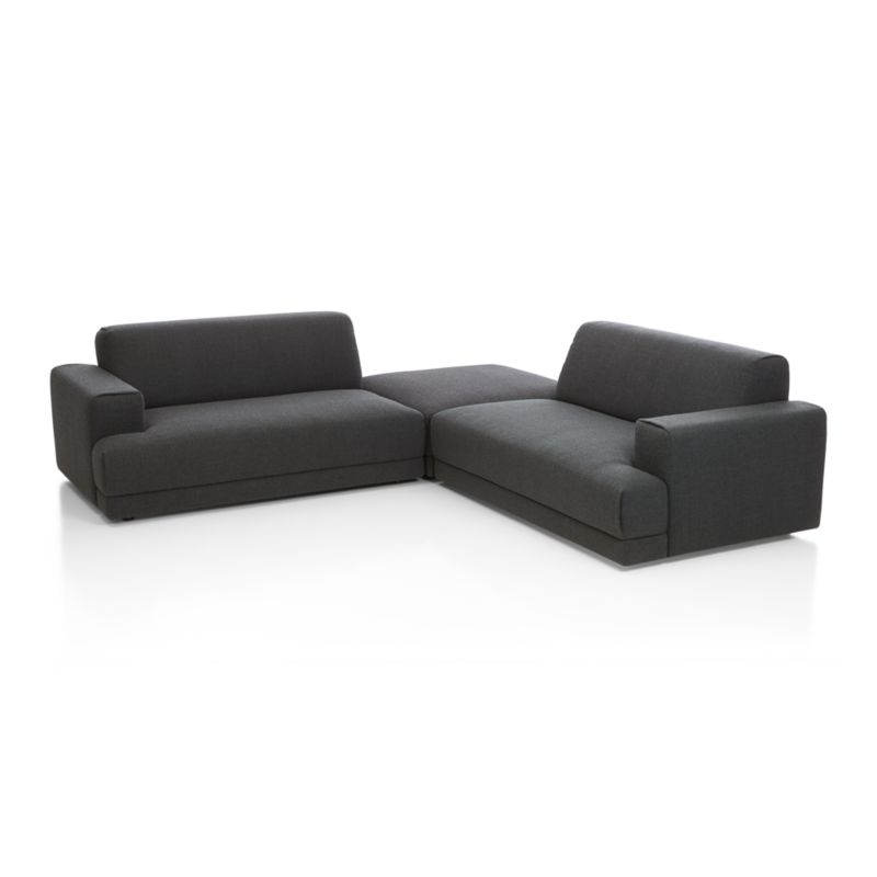 Annexe 3 piece sectional sofa charcoal crate and barrel for Sectional sofa bed crate and barrel