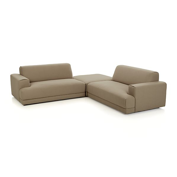 annexe 3 piece sectional sofa mocha crate and barrel