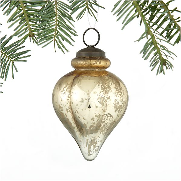 Antiqued Silver and Gold Finial Ornament
