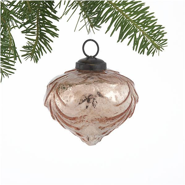 Antiqued Rose Swirl Onion Ornament