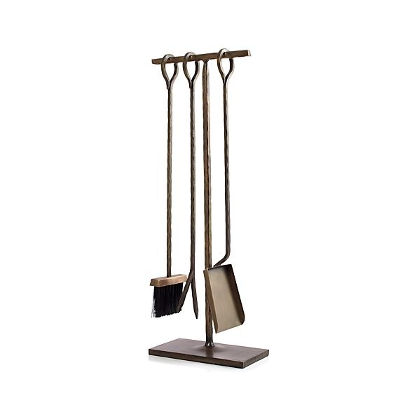 Antiqued Brass Fireplace Tool Set Crate And Barrel