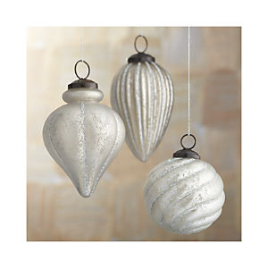 Antiqued Glass Glitter Ornaments