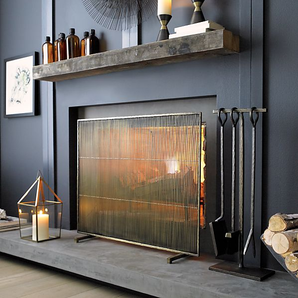 Antiqued Brass Fireplace Screen Crate And Barrel