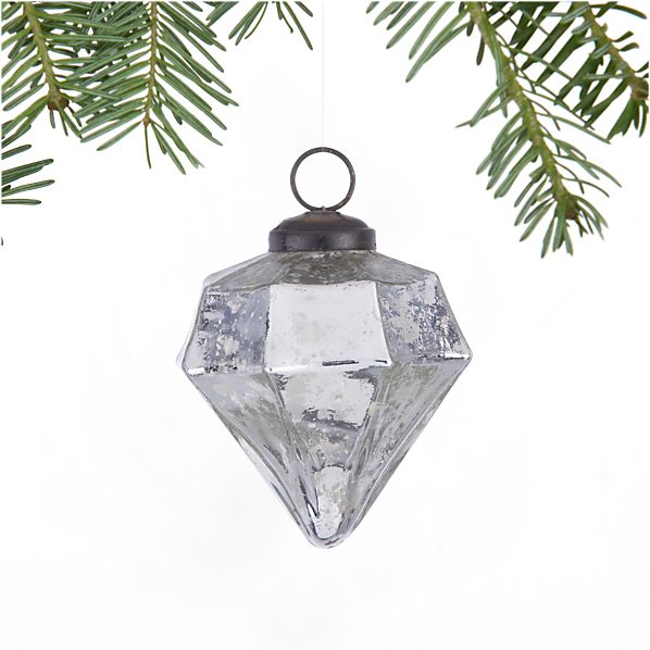 Antiqued Silver Diamond Ornament