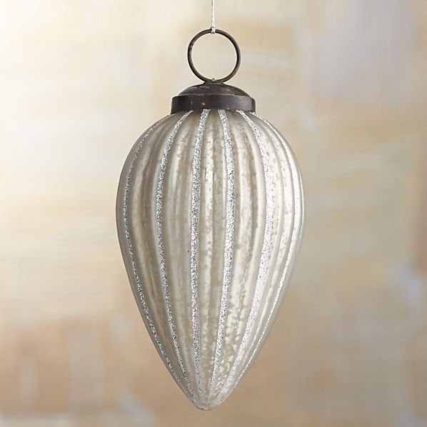Antiqued Glass Glitter Drop Ornament