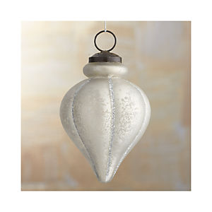 Antiqued Glass Glitter Finial Ornament