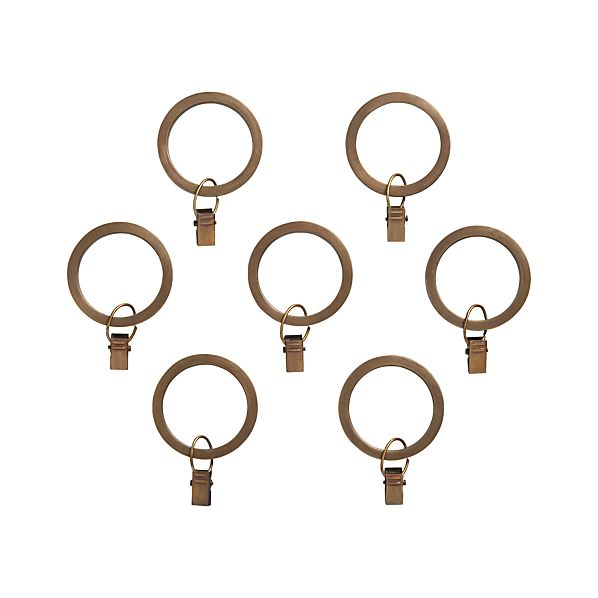 Set of 7 Antiqued Brass Curtain Rings