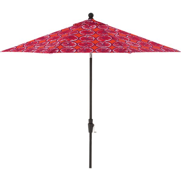 9' Round Marimekko Appelsiini Caliente Umbrella with Black Frame