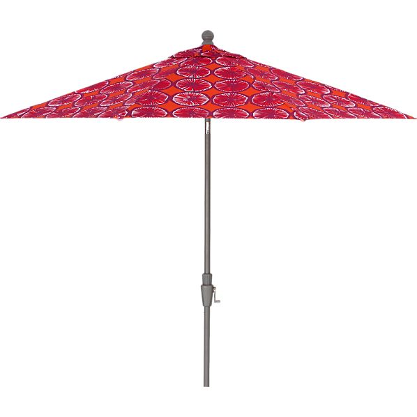9' Round Marimekko Appelsiini Caliente Umbrella with Silver Frame