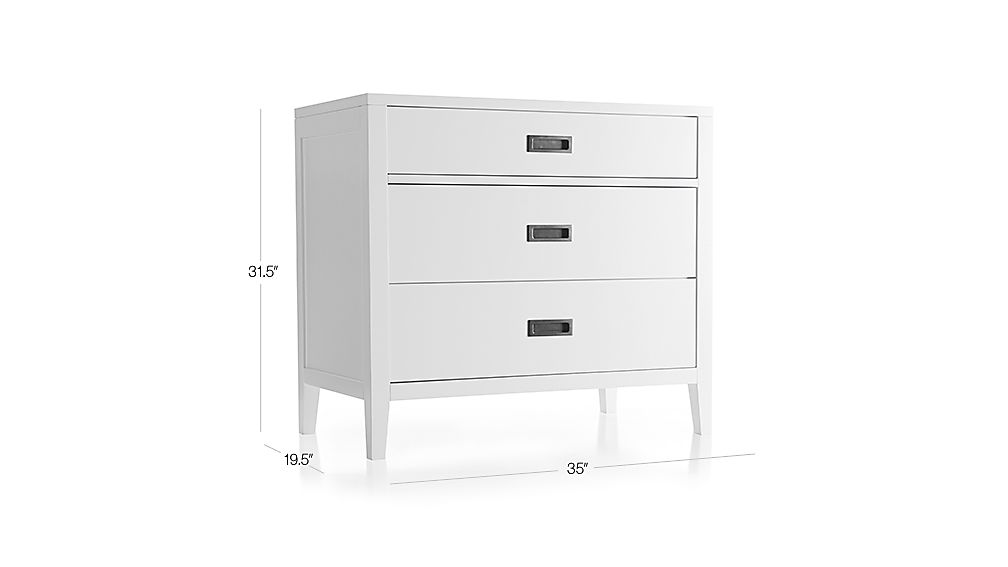 Arch White 3-Drawer Chest Dimensions