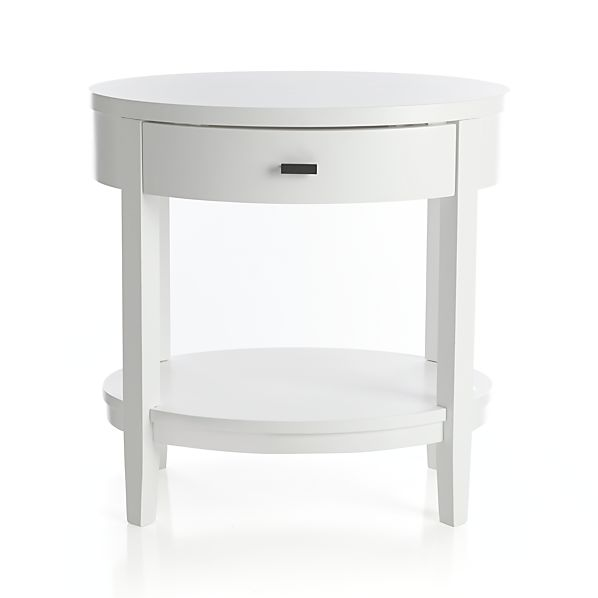 Arch White Oval Nightstand In Arch White Beds Crate And Barrel