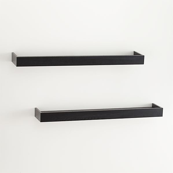 "Set of 2 Archetype 36"" Black Ledges"