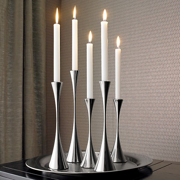 3-Piece Arden Mirrored Stainless Stell Taper Candle Holder Set