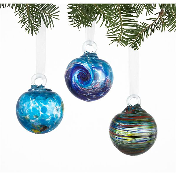 Set of 3 Art Glass Blue Ball Ornaments