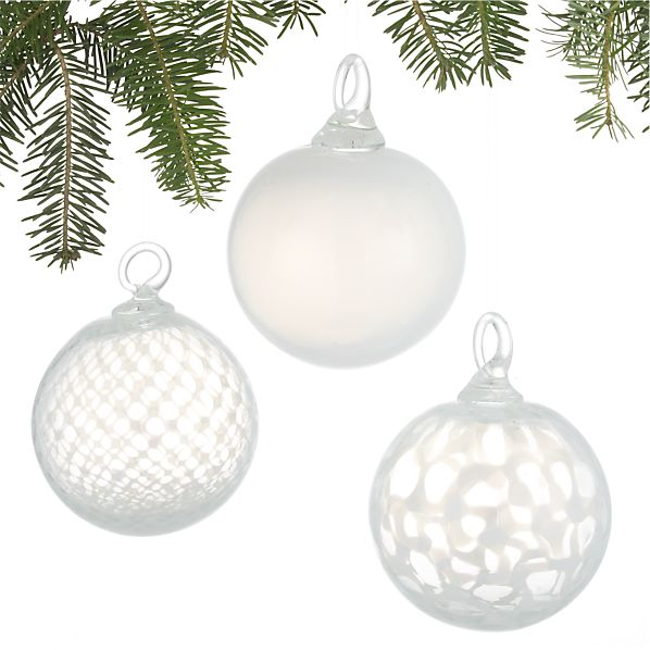 Set of 3 Art Glass White Ball Ornaments