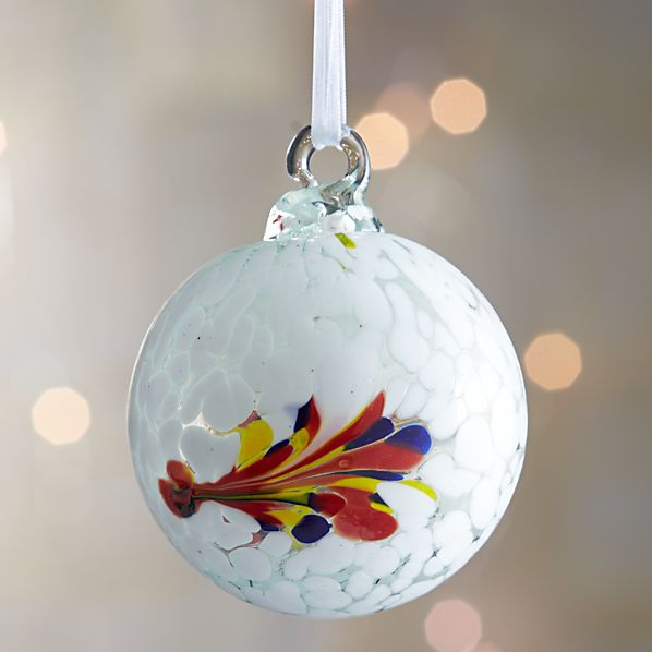 White Art Glass Ball Ornament