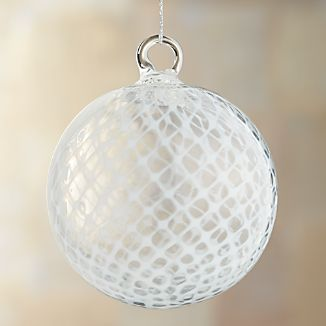White Basketweave Art Glass Ball Ornament