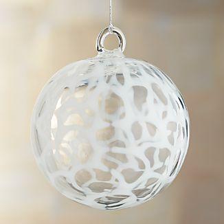 White Circle Art Glass Ball Ornament
