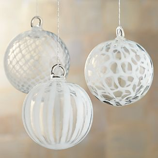 White Art Glass Ball Ornaments