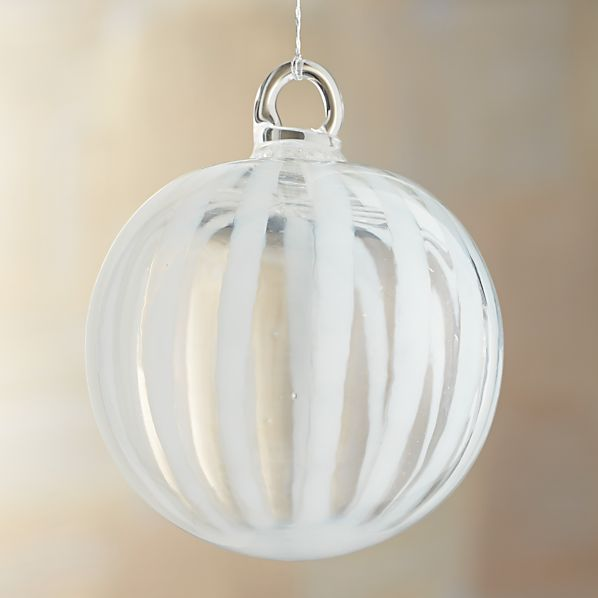 White Stripe Art Glass Ball Ornament