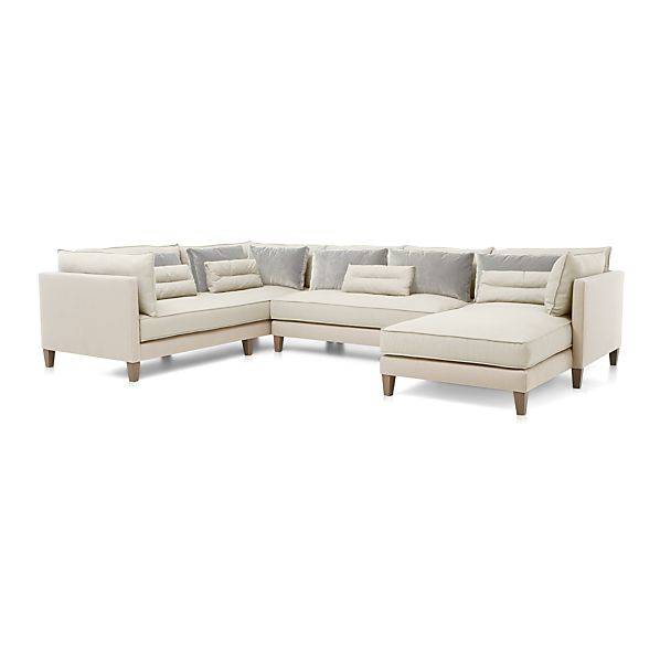 Asana 3 piece sectional sofa cream crate and barrel for 3 pieces sectional sofa