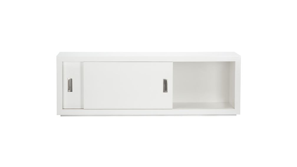 "Ascend II White 55"" Sliding Door Storage Unit"