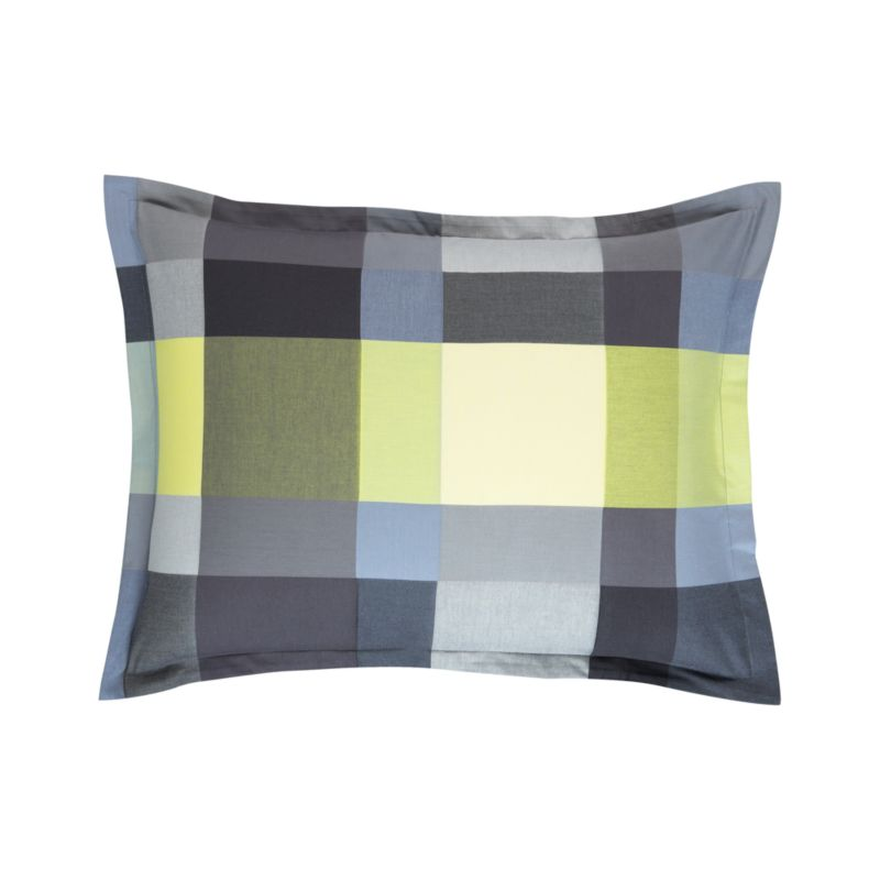 "Updated plaid checks out bold and graphic in contemporary palette of tonal yellow, grey and green. Shams have a 1"" flange and overlapping closures on the reverse. Bed pillows also available.<br /><br /><NEWTAG/><ul><li>100% cotton</li><li>200-thread-count</li><li>Machine wash cold</li><li>Made in Portugal</li></ul>"